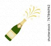 champagne bottle explosion.... | Shutterstock .eps vector #767846962