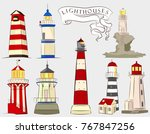 lighthouses illustrations set.... | Shutterstock .eps vector #767847256