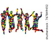 colorful patterned silhouettes... | Shutterstock . vector #767849452
