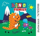 dinosaurs family cartoon vector | Shutterstock .eps vector #767850988