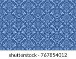 seamless blue wallpaper pattern.... | Shutterstock .eps vector #767854012