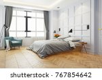 Stock photo modern white bed room king bed with black lamp and wood bedside tables on parquet flooring and 767854642
