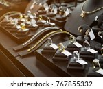 gold jewelry diamond shop with... | Shutterstock . vector #767855332