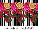 tropical seamless floral border ... | Shutterstock .eps vector #767855908