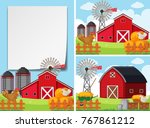 three scenes with barns and... | Shutterstock .eps vector #767861212