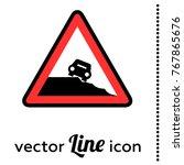 steep roadside vector road sign ...   Shutterstock .eps vector #767865676