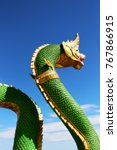 Small photo of Green colors of Molding with Praya Nark showing in Thai Temple Praya Nark or Naga is fabulous serpent or serpent dragon the big snake in Thai story from Thailand