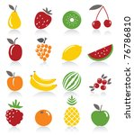 fruit icons | Shutterstock .eps vector #76786810