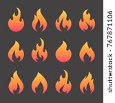 fire flames  set vector icons | Shutterstock .eps vector #767871106