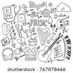 set of music illustration hand... | Shutterstock .eps vector #767878666