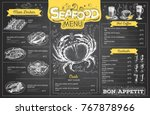 vintage chalk drawing seafood... | Shutterstock .eps vector #767878966
