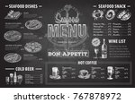 vintage chalk drawing seafood... | Shutterstock .eps vector #767878972