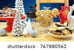 festive table with traditional... | Shutterstock . vector #767880562