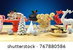 festive table with traditional... | Shutterstock . vector #767880586