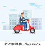 guy on the moped. characters.... | Shutterstock .eps vector #767886142