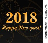 vector 2018 happy new year.... | Shutterstock .eps vector #767887096