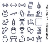 set of 25 gym outline icons... | Shutterstock .eps vector #767897452