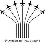 airplane flying formation  air... | Shutterstock .eps vector #767898046