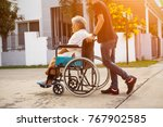 hipster son with seniors in... | Shutterstock . vector #767902585