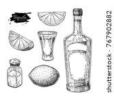 tequila bottle  salt shaker and ... | Shutterstock .eps vector #767902882