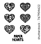 six paper hearts for st.... | Shutterstock .eps vector #767904622