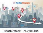 business road map timeline... | Shutterstock .eps vector #767908105