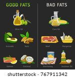 good and bad fats for cooking.... | Shutterstock .eps vector #767911342
