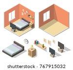 isometric bedroom interiors... | Shutterstock .eps vector #767915032