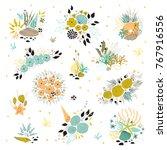vector set of sea bouquets.... | Shutterstock .eps vector #767916556
