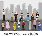 isometric children stand | Shutterstock . vector #767918875