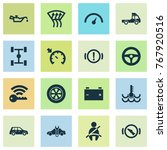 automobile icons set with... | Shutterstock .eps vector #767920516