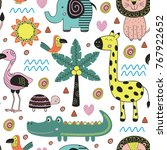 seamless pattern with jungle... | Shutterstock .eps vector #767922652