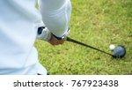 golf player hitting beautiful... | Shutterstock . vector #767923438