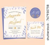 wedding invitation with vintage ... | Shutterstock .eps vector #767930758