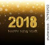 golden new year banner with... | Shutterstock .eps vector #767931922