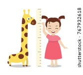 kid measures the growth. girl...   Shutterstock .eps vector #767932618