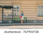 cute girl talking on the phone... | Shutterstock . vector #767933728