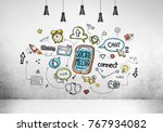 concrete wall room with a... | Shutterstock . vector #767934082