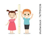 kids measures the growth. girl... | Shutterstock .eps vector #767934136