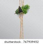 vertical linen rope for... | Shutterstock .eps vector #767939452