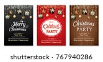 merry christmas party and gift... | Shutterstock .eps vector #767940286
