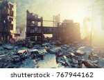 apocalyptic city sunset.... | Shutterstock . vector #767944162
