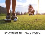 golf ball being hit impact by... | Shutterstock . vector #767949292