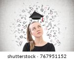 portrait of a thoughtful young... | Shutterstock . vector #767951152