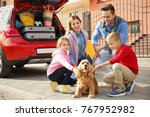young family with children and... | Shutterstock . vector #767952982
