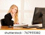 beautiful young blonde woman... | Shutterstock . vector #767955382