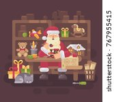santa claus sitting at the desk ... | Shutterstock .eps vector #767955415