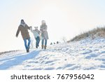 happy family takes a walk in... | Shutterstock . vector #767956042