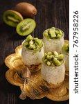 yogurt with chia seeds  muesli... | Shutterstock . vector #767958226