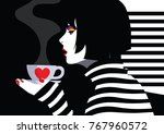 fashion woman witn cup of... | Shutterstock .eps vector #767960572